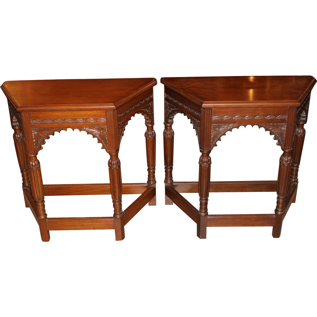 Pair of Aesthetic Revival Console Tables in Mahogany from Munago Co