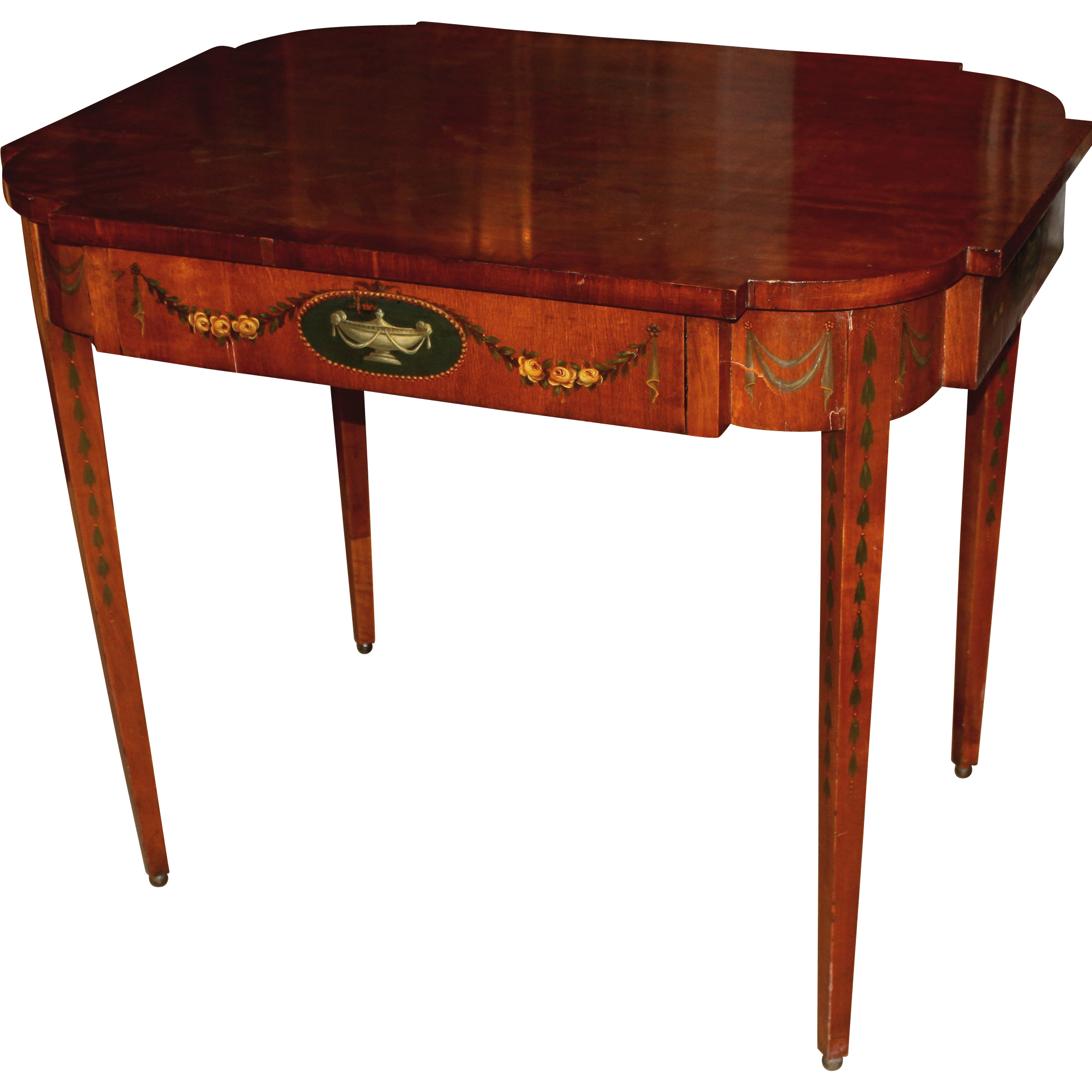 19th c George III Style Satinwood Paint Decorated Center Table