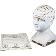19th c Rare Chalkware Educational Phrenology Bust & Report, R. Wells, New York