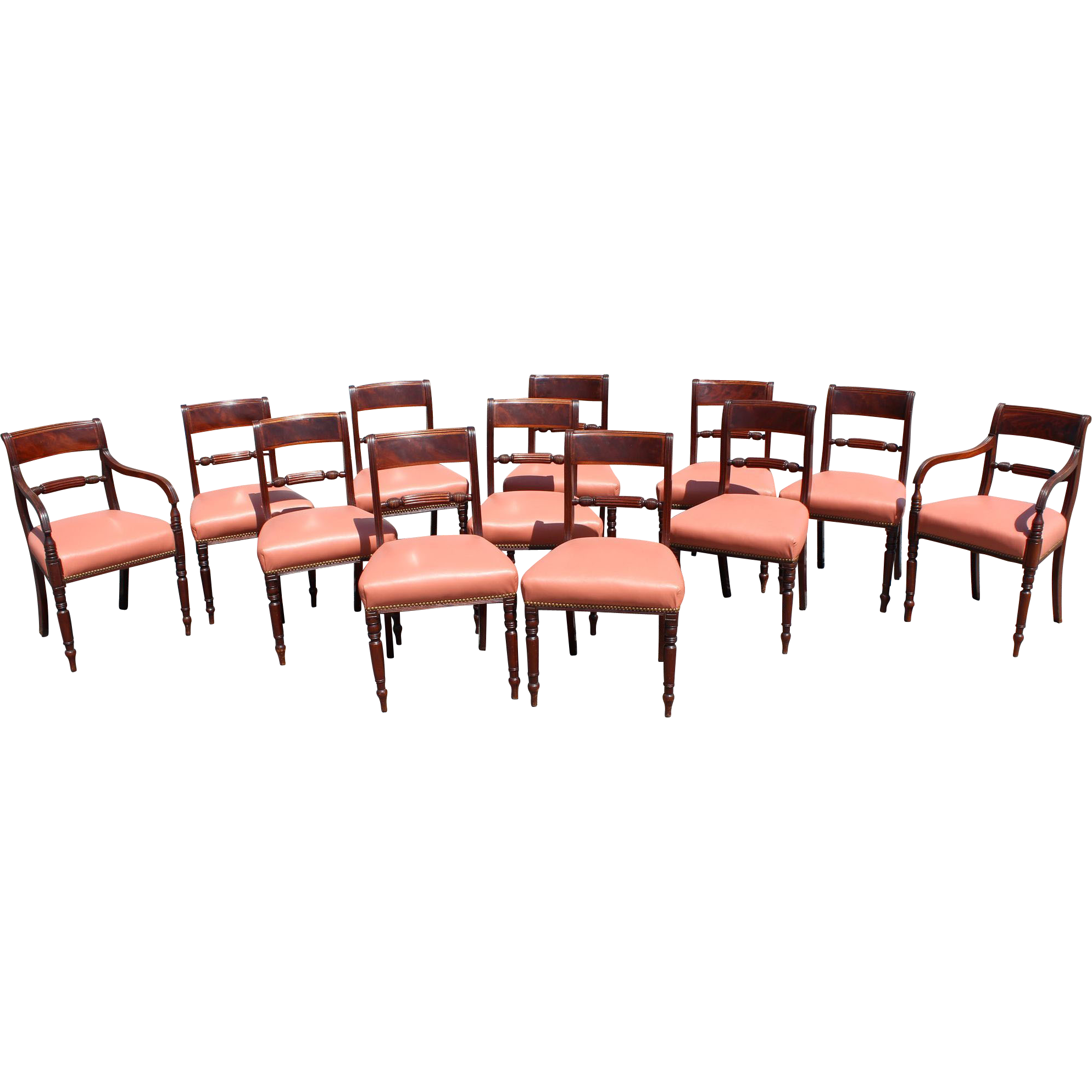 Set of 12 Regency Period Mahogany Upholstered Dining Chairs