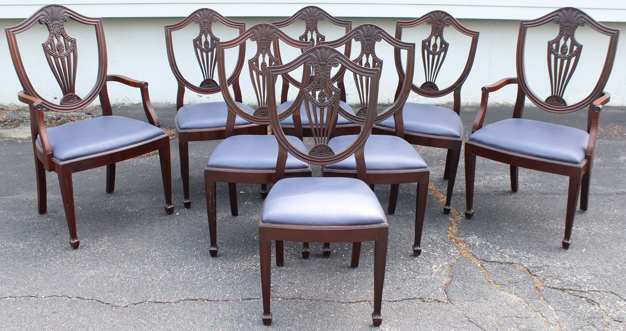 Set of 8 Mahogany Hepplewhite Style Shield Back Upholstered Dining