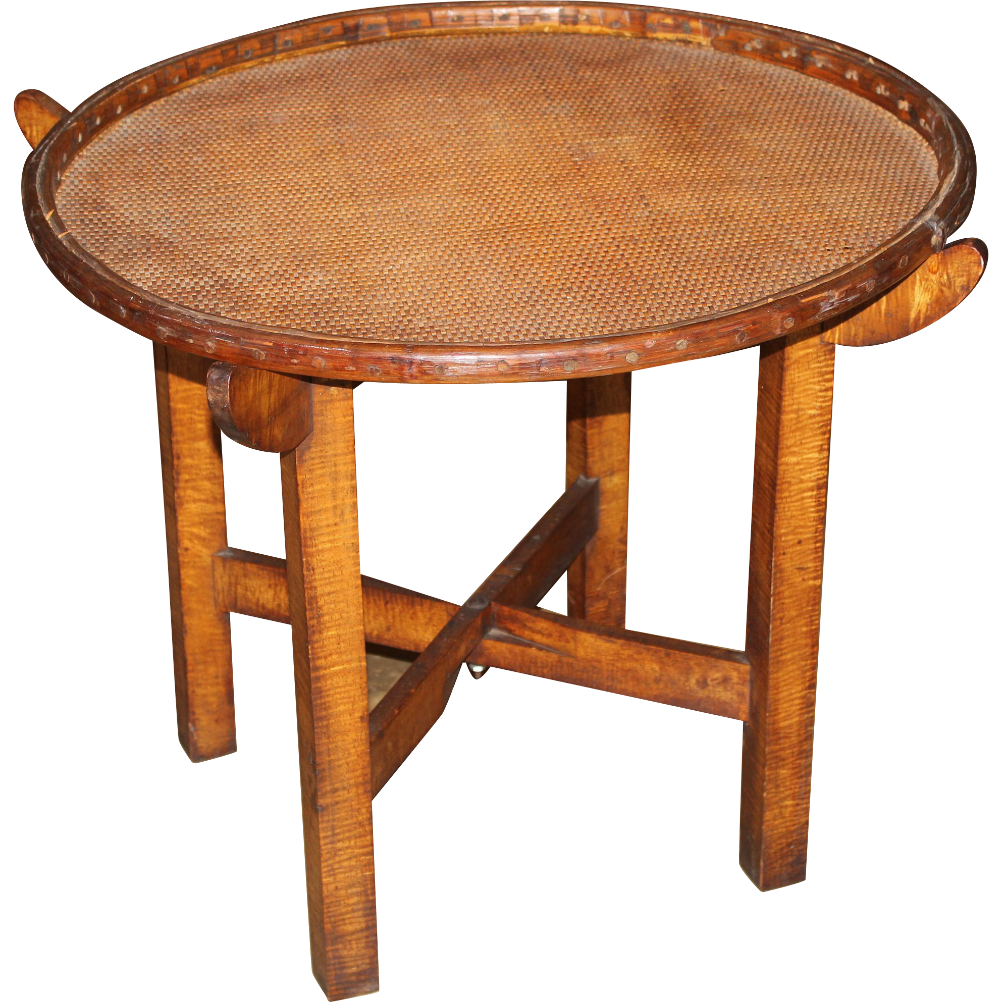 19th / 20th c Hawaiian Wooden Round Occasional Table