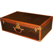 Louis Vuitton Hardside Luggage Suitcase with Interior Tray & Key circa 1950's