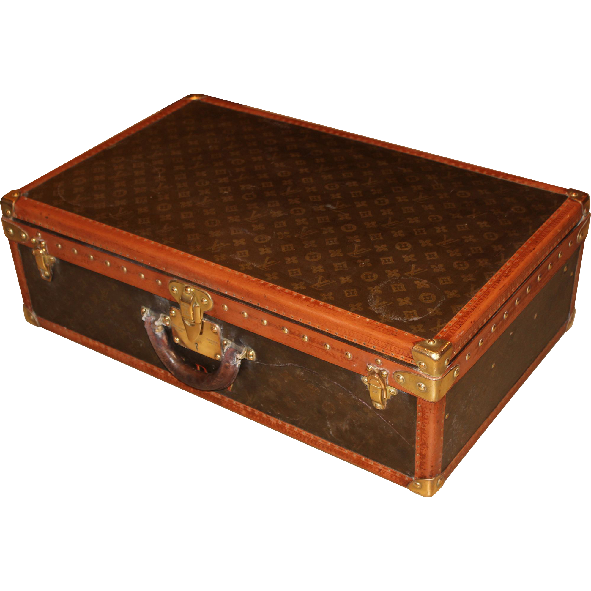 Louis Vuitton Hardside Luggage Suitcase with Interior Tray & Key circa 1940's