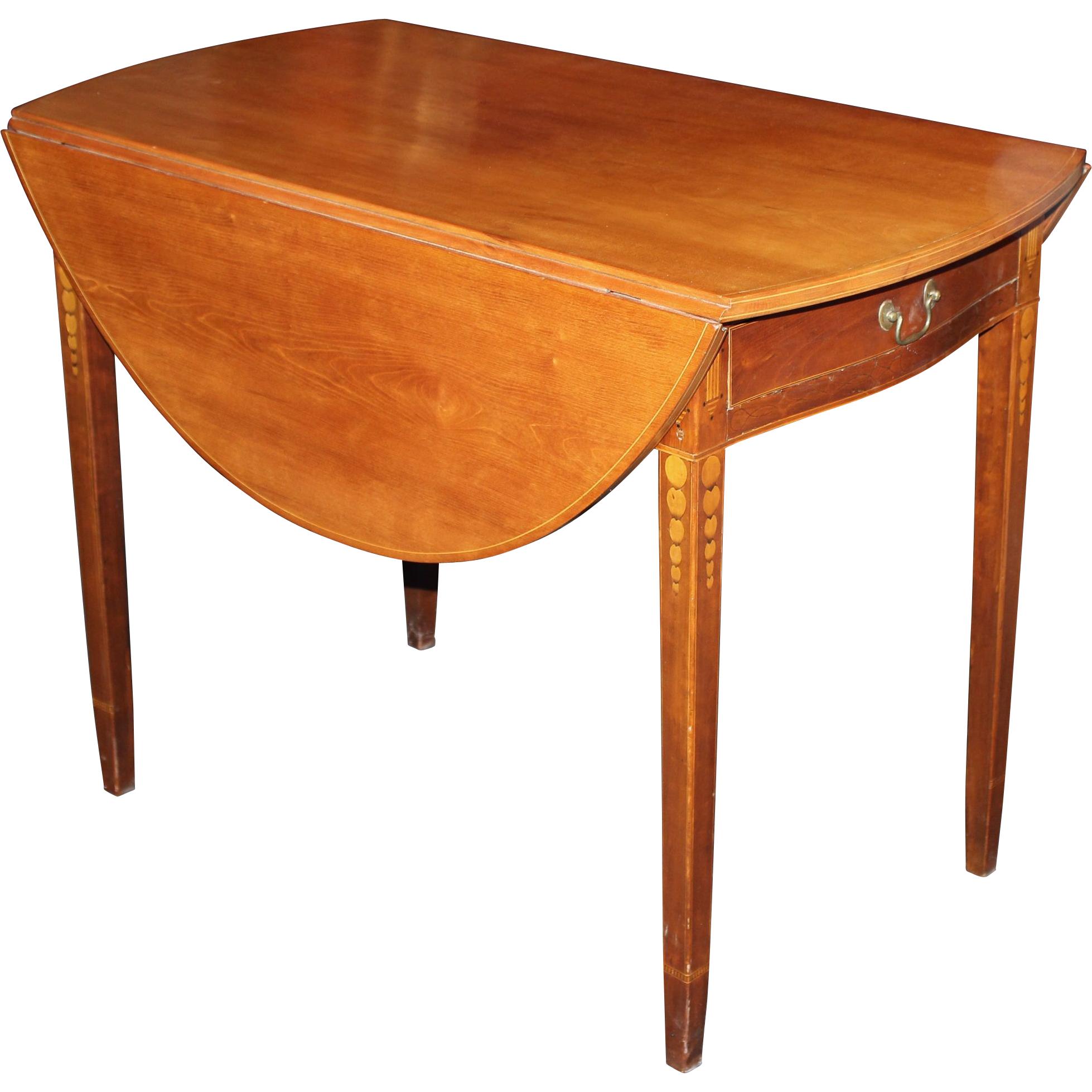 Federal Period CT River Valley William Lloyd Cherry Pembroke Table With  Inlay