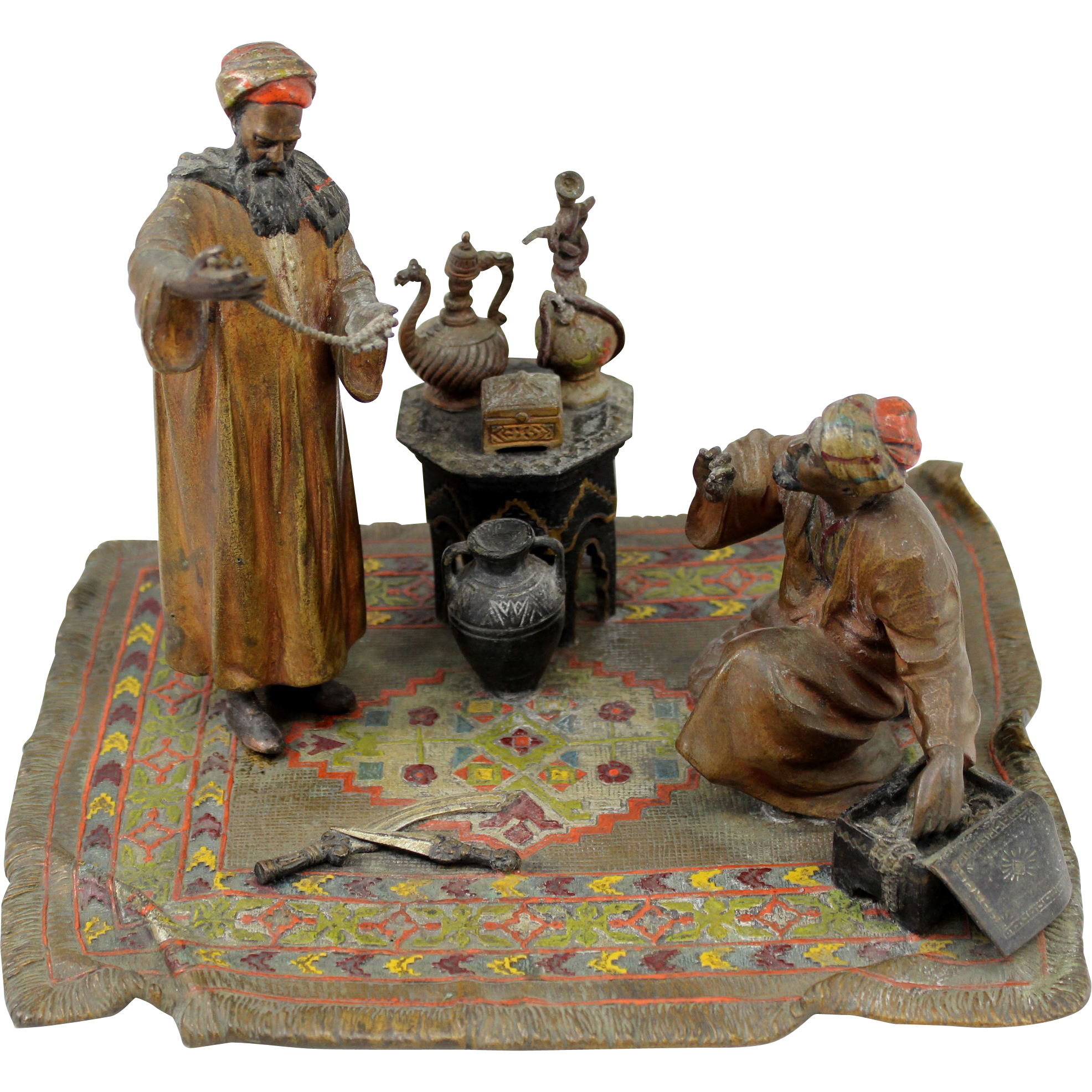 Anton Chotka Vienna Cold Painted Bronze of Arab Merchants