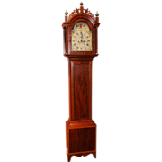 New England Federal Period Mahogany Tall Case Clock with Beautiful Painted Dial