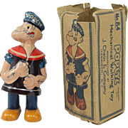 J. Chien & Co  #84 Popeye Mechanical Walking Tin Toy with Box circa 1930's