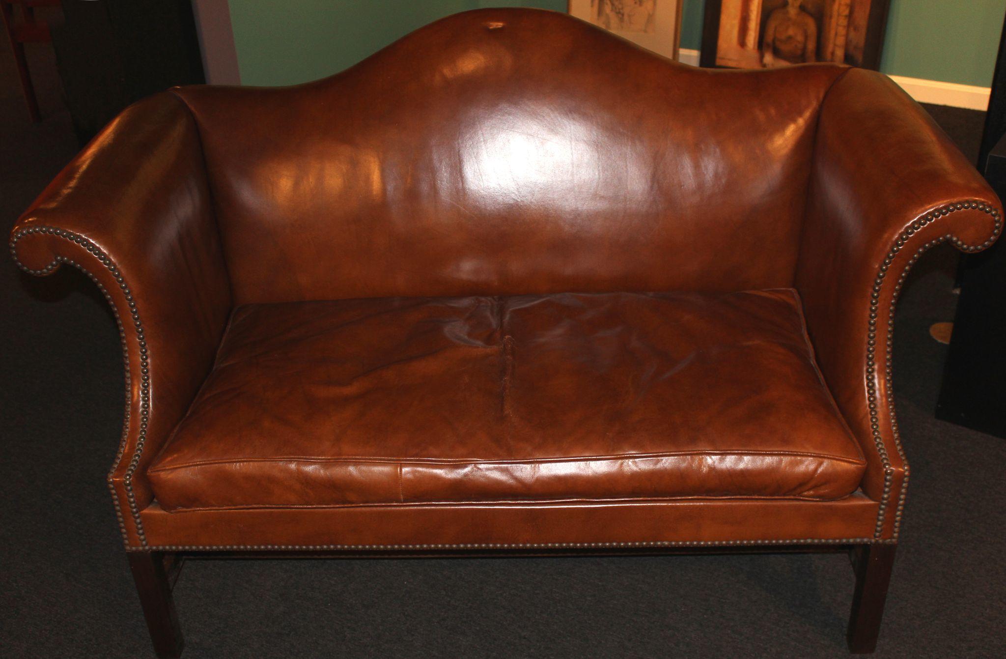pair of kittinger leather camel back sofas williamsburg