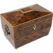 Early 19th c English Burlwood Casket Form Tea Caddy