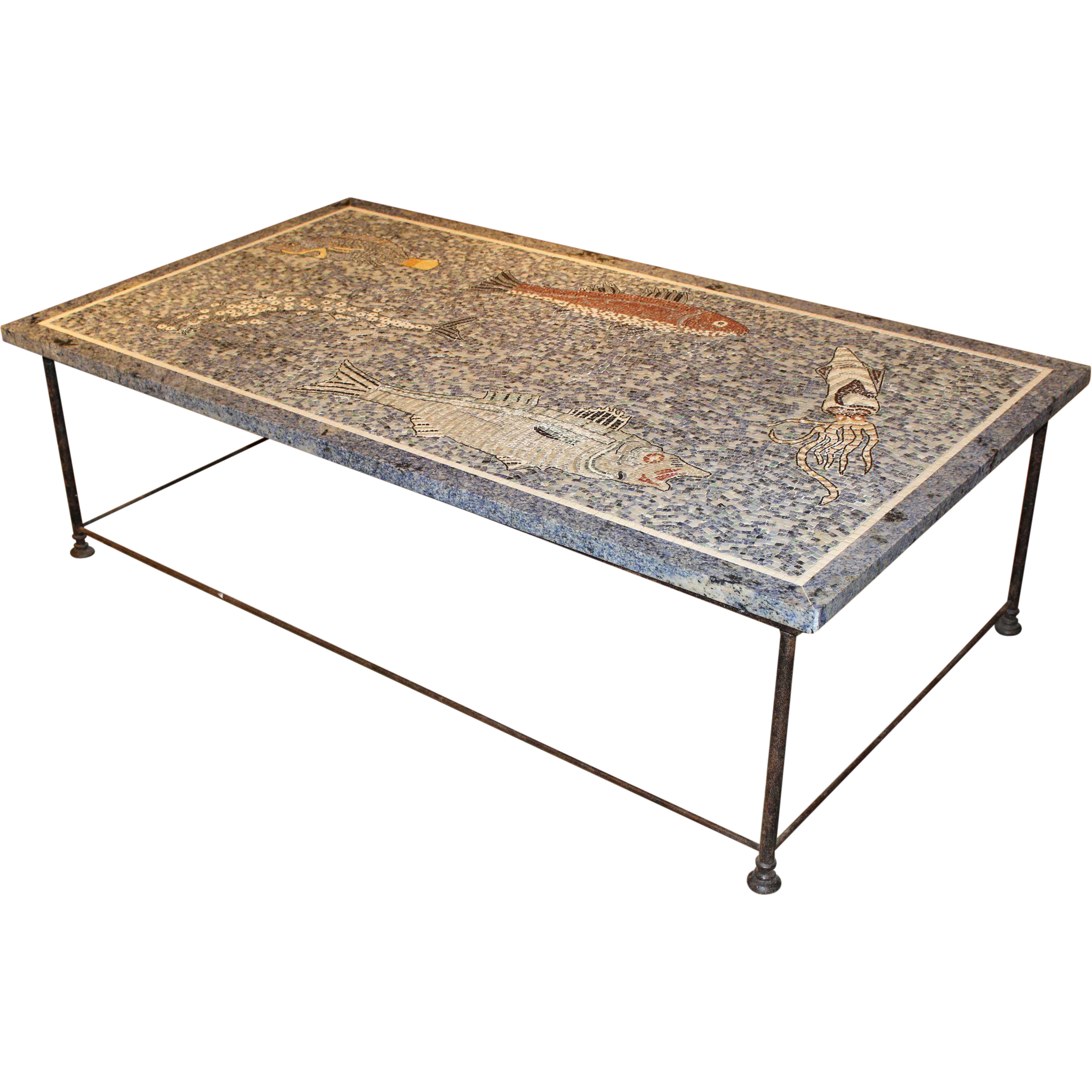 Large Lapis and Stone Mosaic Coffee Table with Ocean Motif