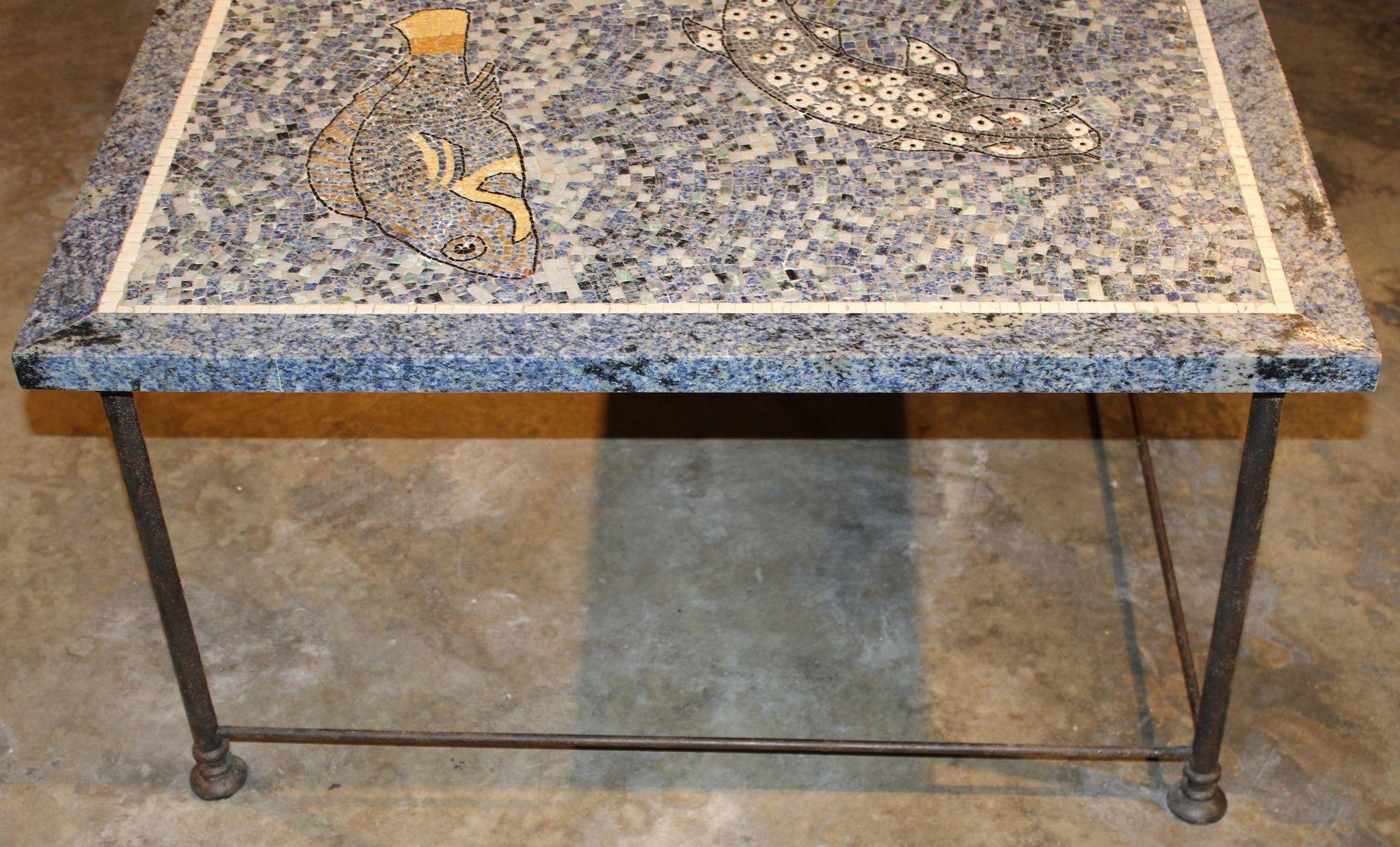 Lapis and Stone Mosaic Coffee Table with Ocean Motif from