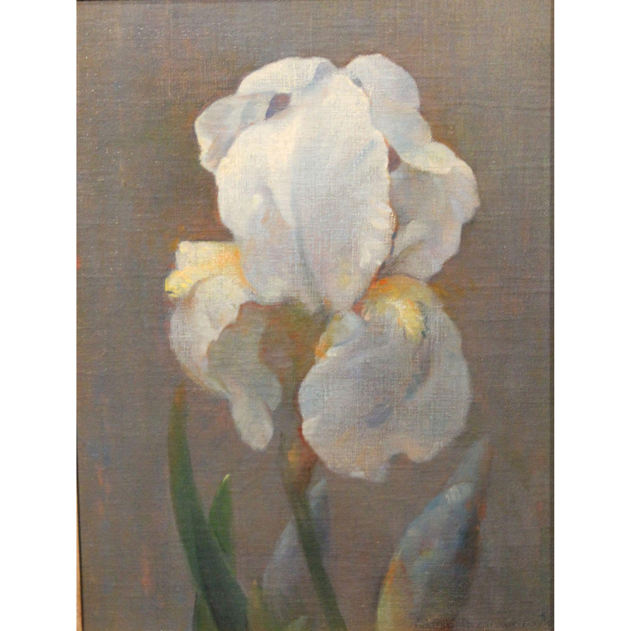 Dimitri Romanovsky Early Modernist Oil Painting Still Life of an Iris