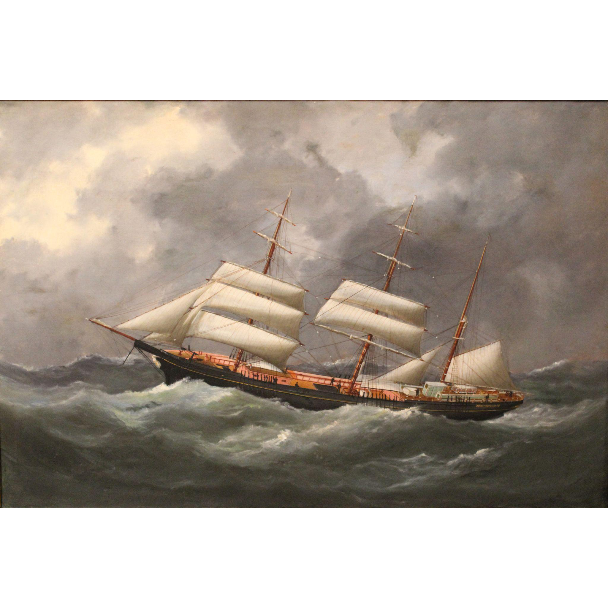 Edouard Adam I 19th c Oil Painting Ship Portrait - Bark Emma Paysant in a Gale