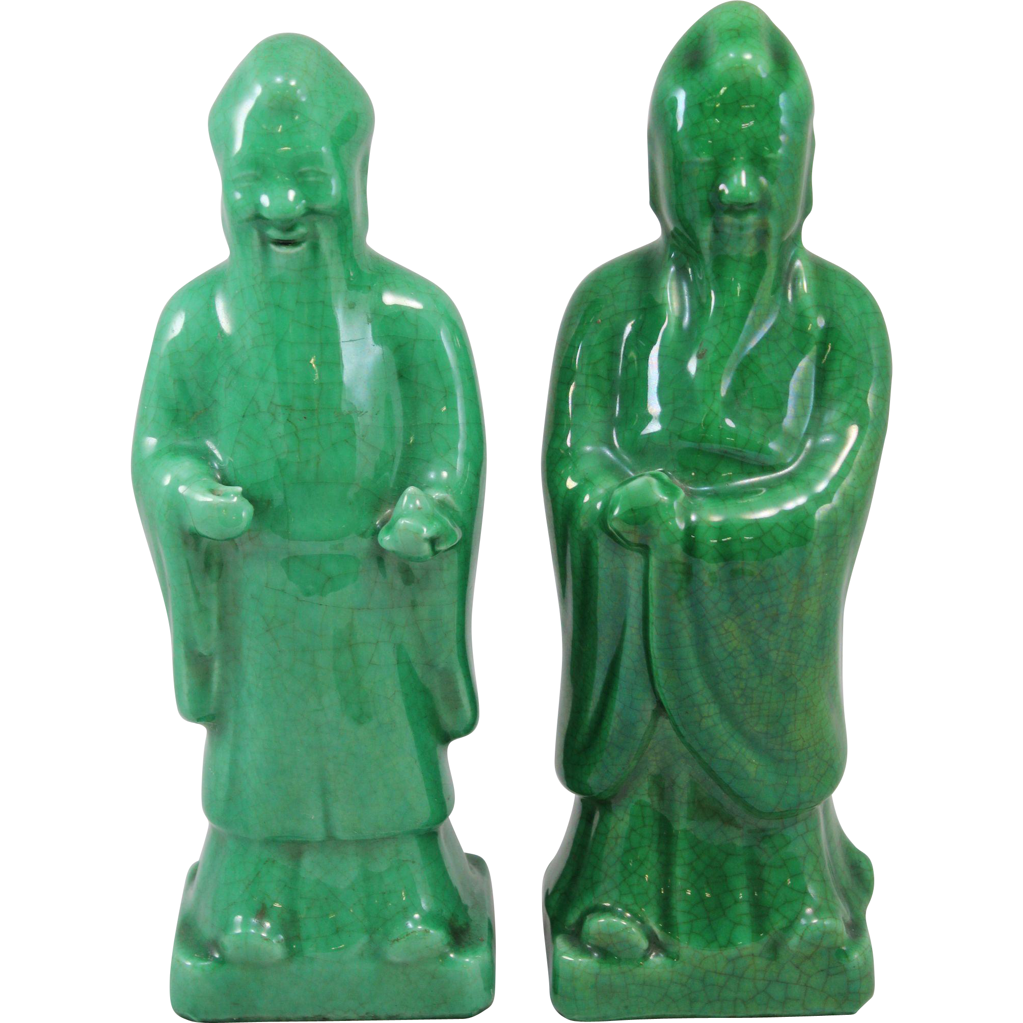 Two 19th c Ceramic Green Glazed Chinese Figures with Crackled Finish