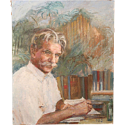 Helen B. Ripley Oil Painting Portrait of Albert Schweitzer 1958