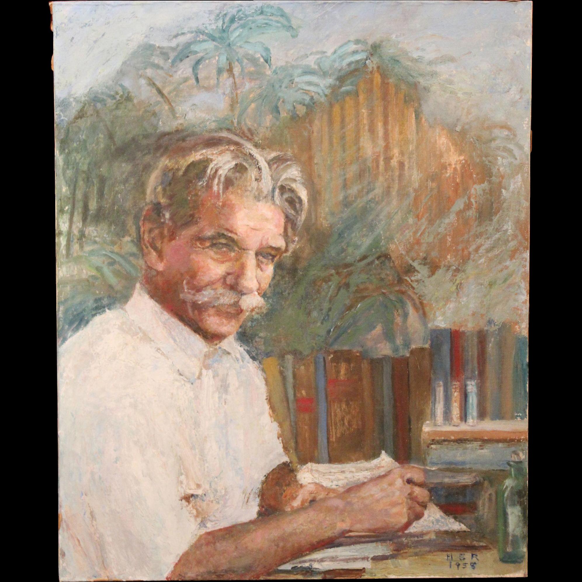 Helen B. Ripley Oil Painting Portrait of Albert Schweitzer 1958