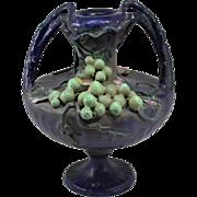 Two Handled Porcelain Amphora Austrian Vase with Grape and Vine Decoration