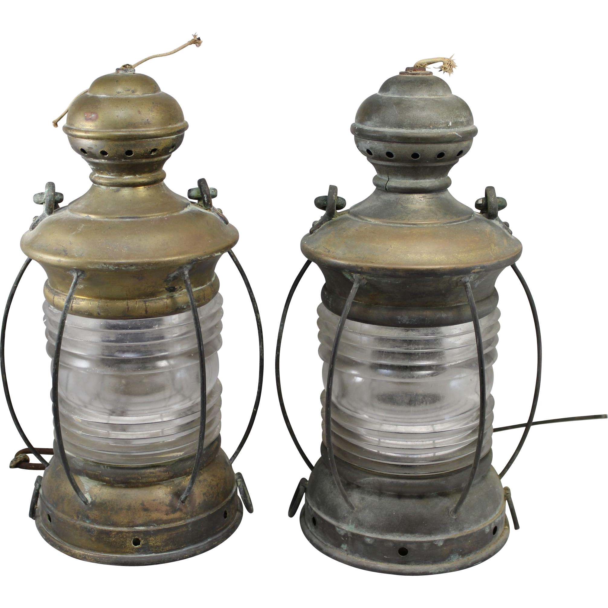 Pair of Perkins Marine Lamp Corp Brass Ship's Lanterns