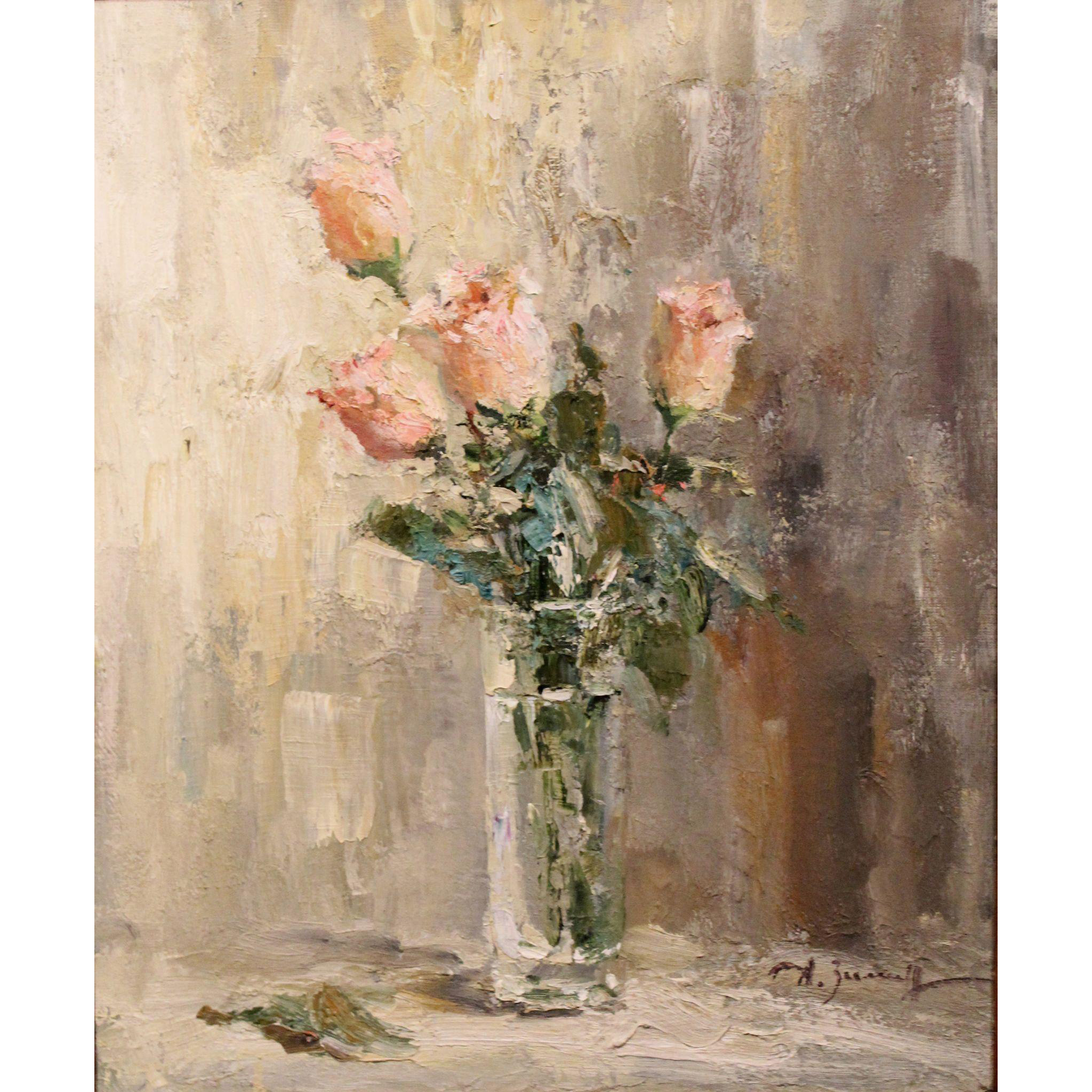 Alexander (Sasha)  Zimin Russian Oil Painting Still Life with Pink Roses