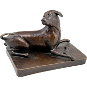 Barbara Faucher Signed Bronze of a Playful Dog with a Mouse