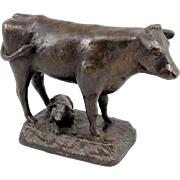Barbara Faucher Signed Bronze of a Cow and Calf