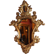 18th c Italian Carved Giltwood Baroque Mirror