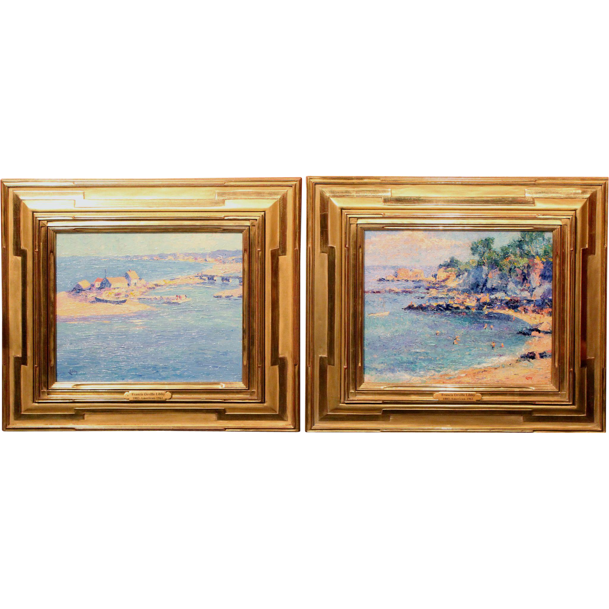 Francis Orville Libby Oil Paintings Pair of Coastal Scenes Quebec / Maine