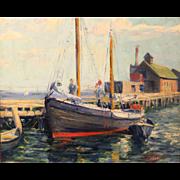 Harry Shokler Coastal Marine Oil Painting - Provincetown Docks