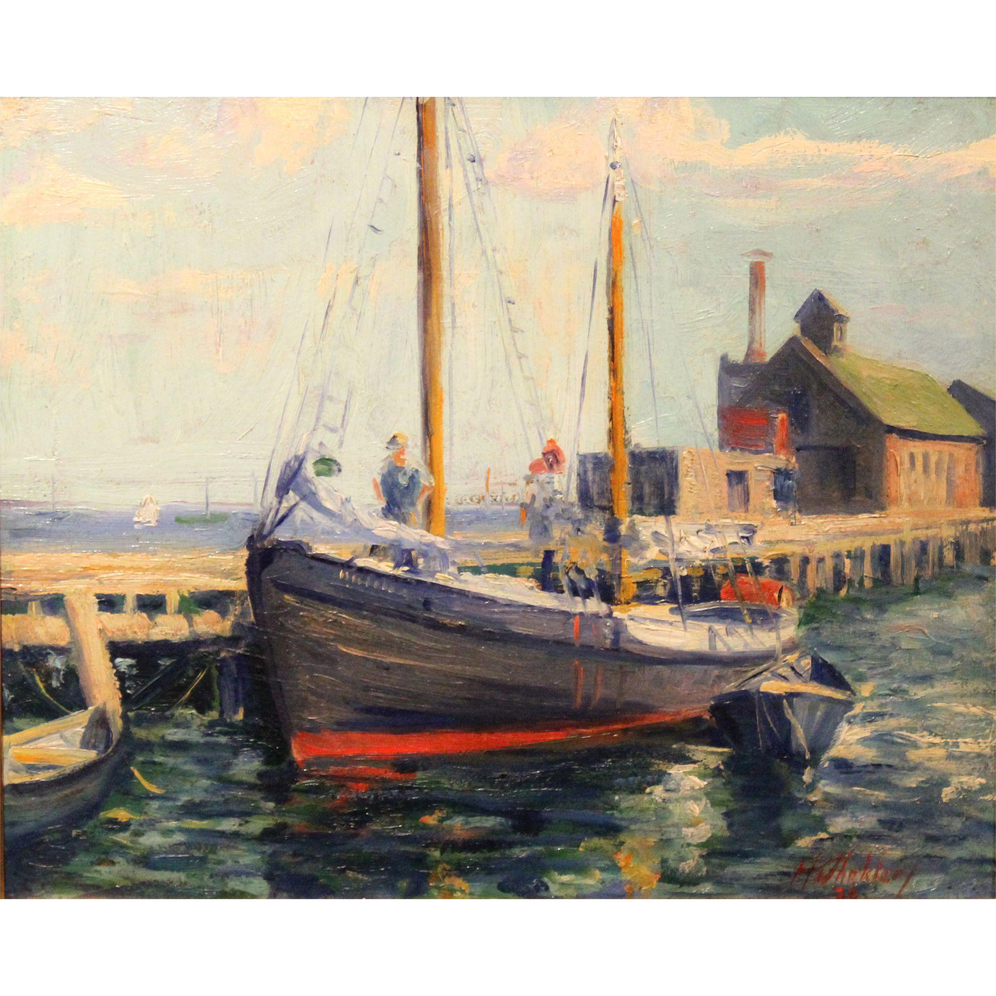 Harry Shokler Coastal Marine Oil Painting - Provincetown Docks