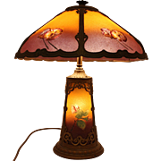 Early 20th c Reverse Painted Slag Glass Table Lamp with Pansies