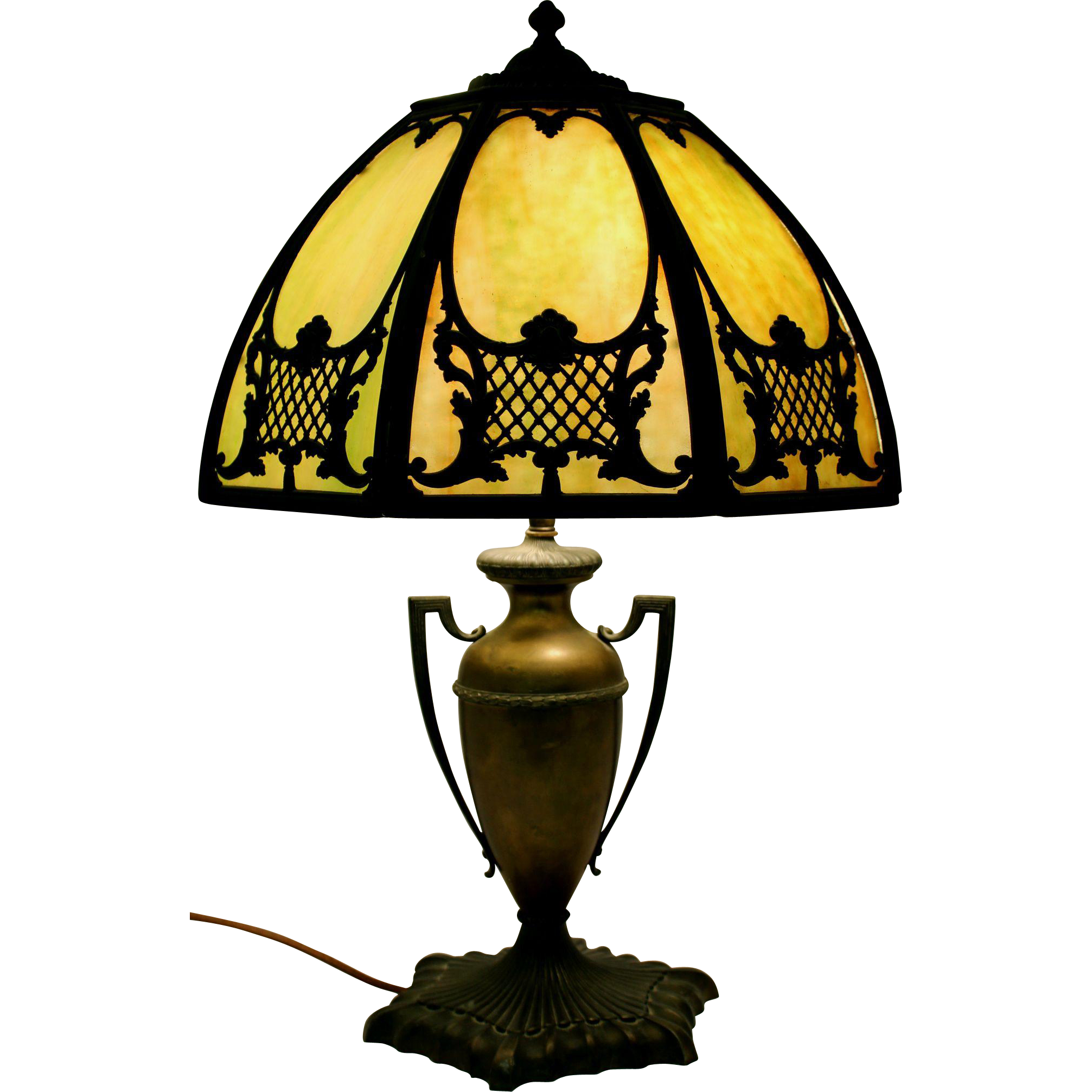 Slag Glass Metal Table Lamp with Urn Form Base circa 1920