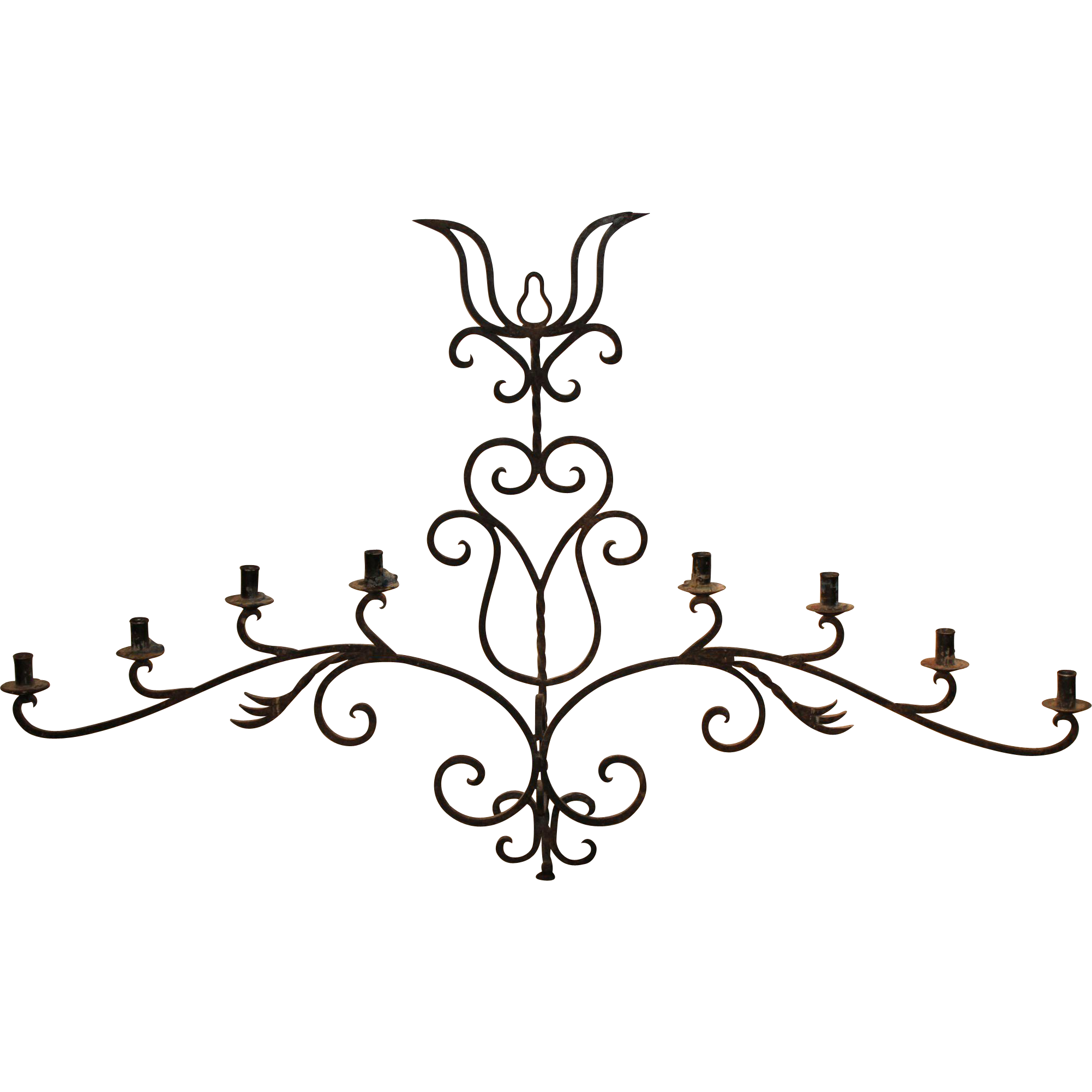 Wrought Iron Eight-Light Wall Sconce