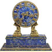 Brazilian Lapis Lazuli Mantel Clock in Chinese Motif with Doré Bronze Signed Caldwell