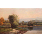 D.A. Fisher Oil Painting NH Landscape of Conway Meadows