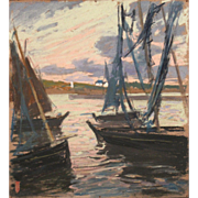 Charles Henry Fromuth Pastel Painting - Sardine Boats at Sunset