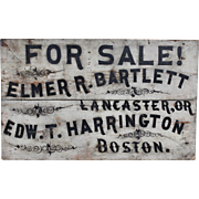 Early 20th c Hand Painted Advertising Sign Bartlett Lancaster & Harrington Boston MA