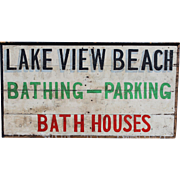 Early to Mid 20th Century Lake View Beach Wooden Advertising Sign