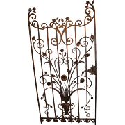 Custom Iron Garden Gate with Flower and Urn Motif