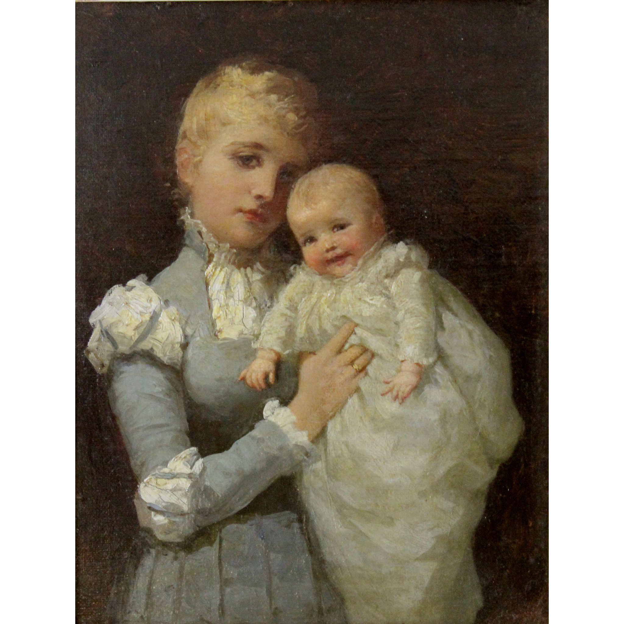 Ida Waugh Oil Painting Portrait -  Young Mother