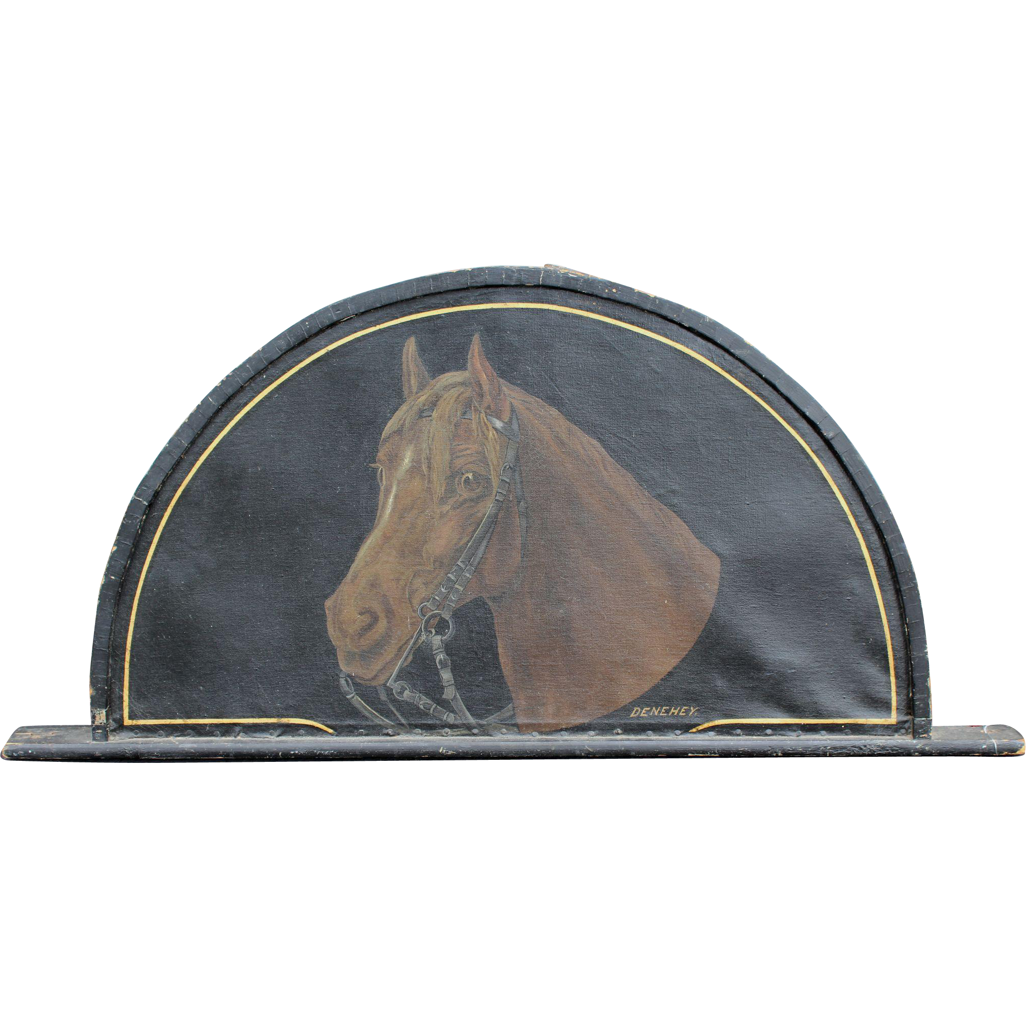 19th c Horse Livery Stable Painted Demi-Lune Trade Sign