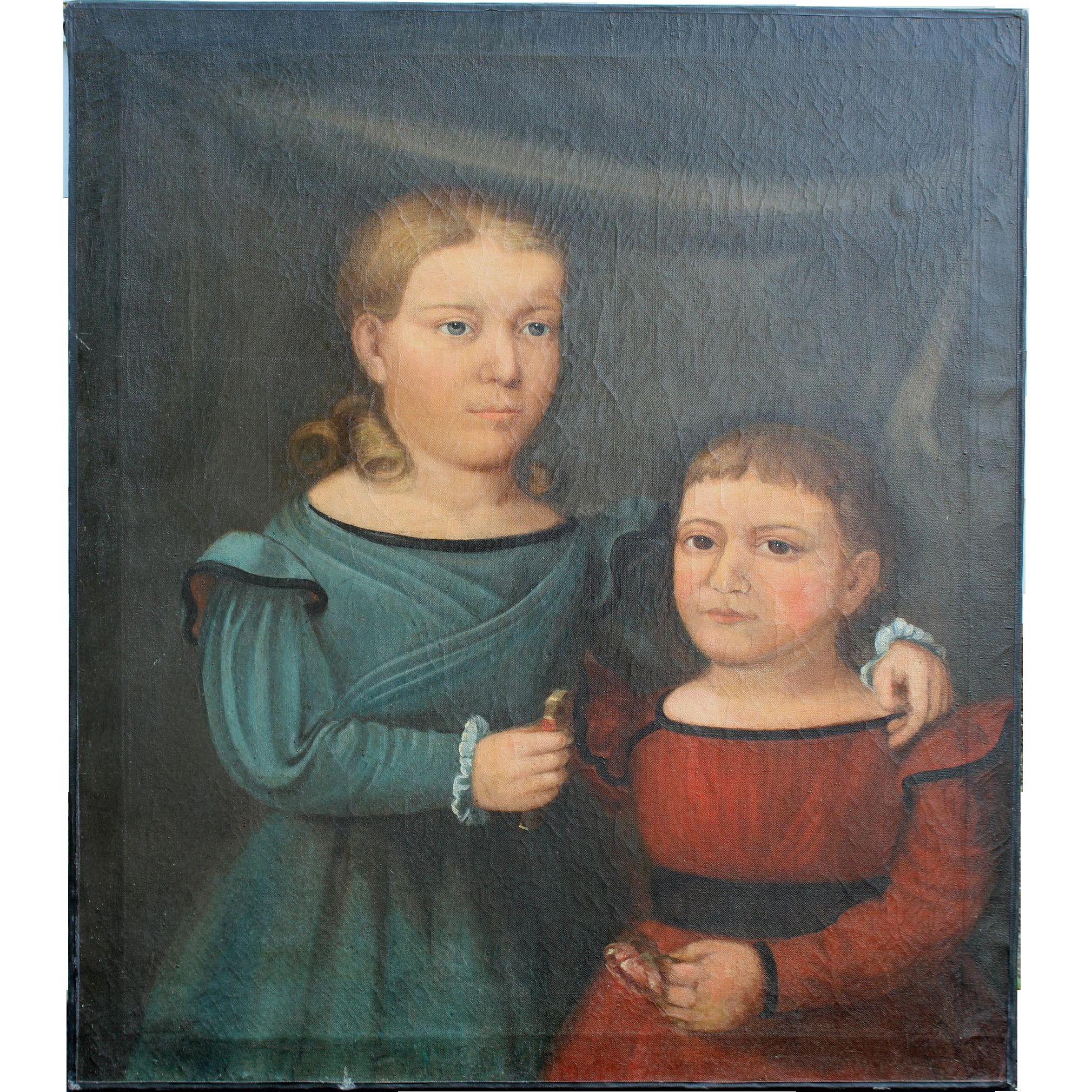 Primitive Double Portrait of Two Children Horace Bundy circa 1845