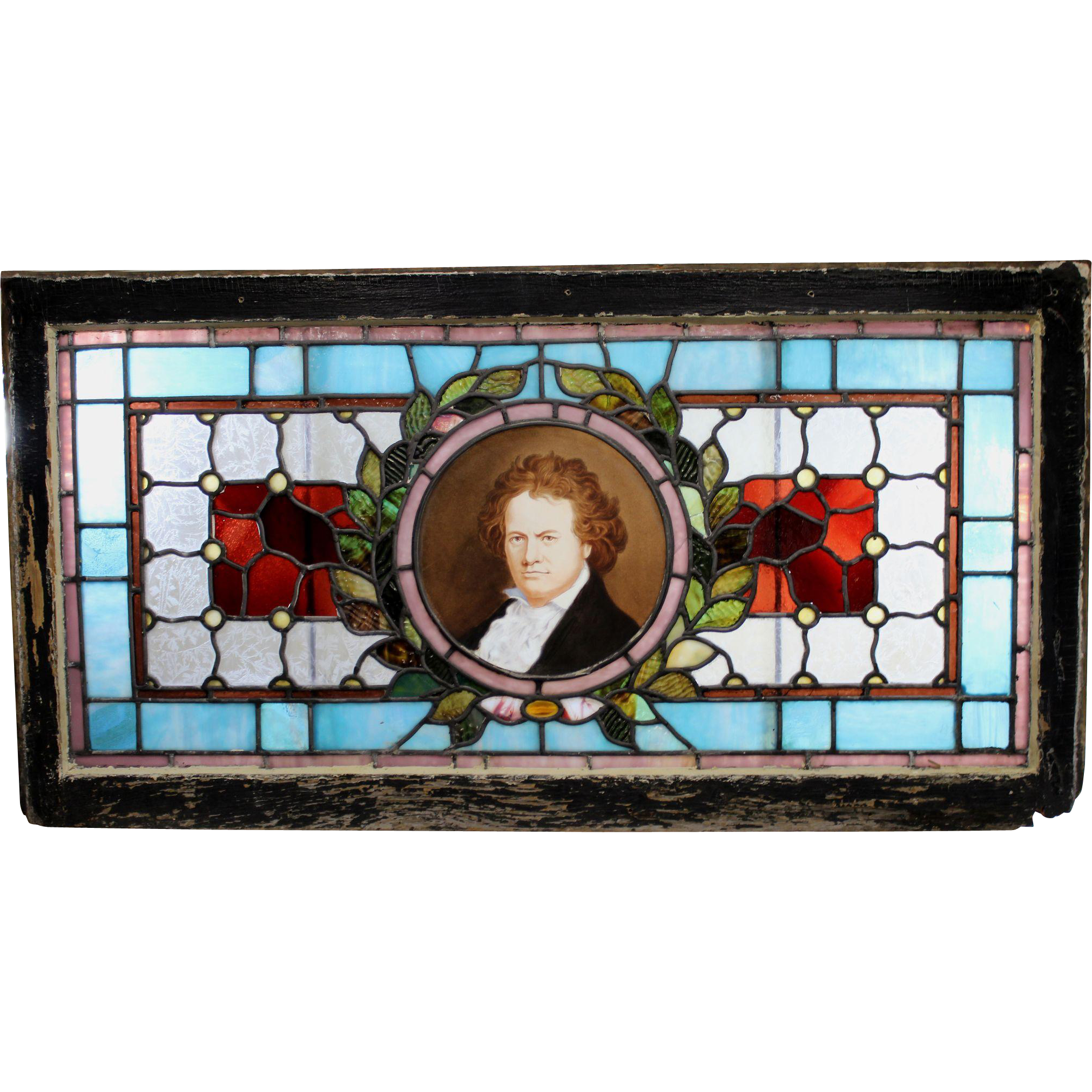 Victorian Leaded Glass Window with Portrait of Beethoven
