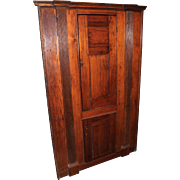NJ 19th c Pine Two Door Corner Cupboard with Reeded Pilasters
