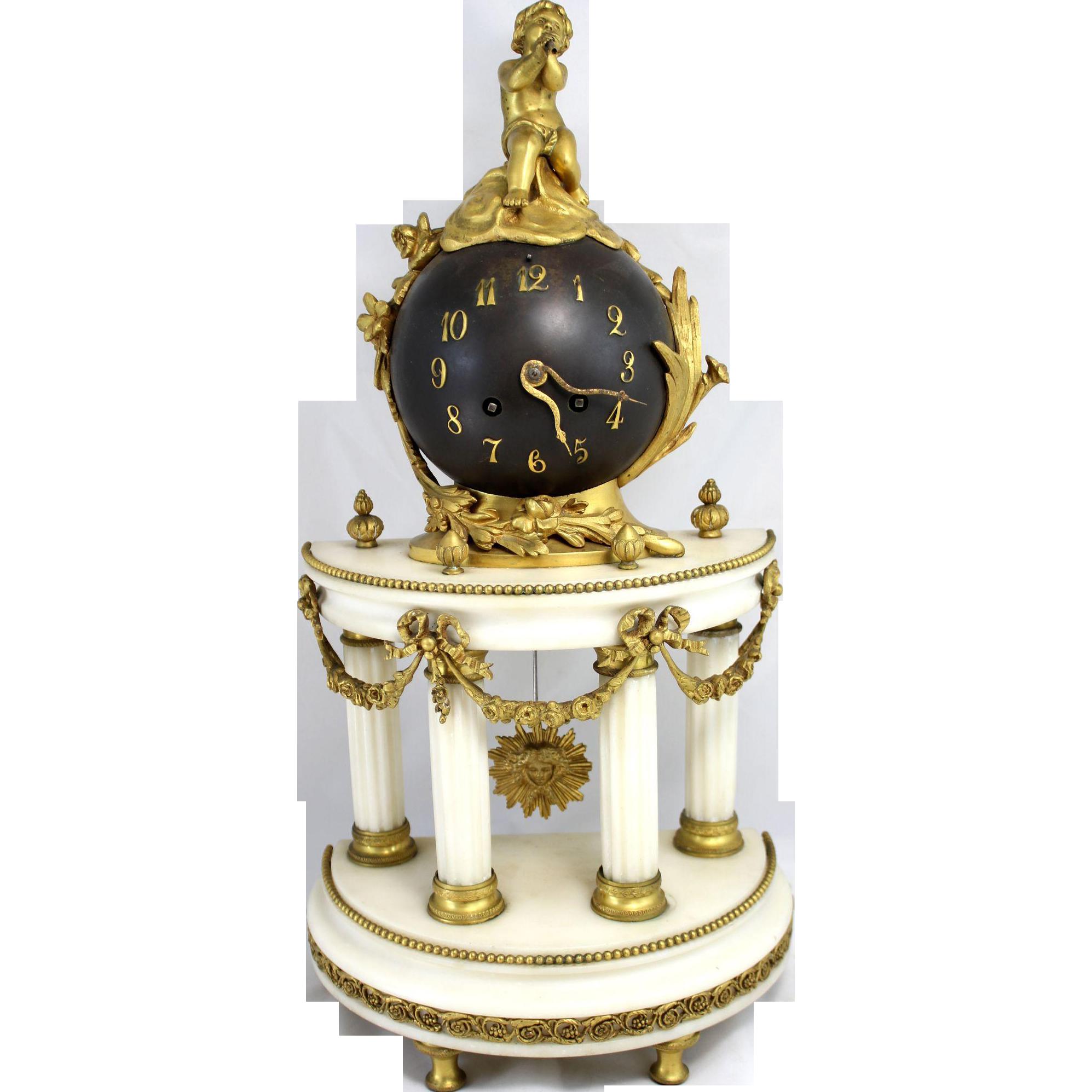 19th Century French Bronze Ormolu and Marble Figural Globe Mantel or Shelf Clock