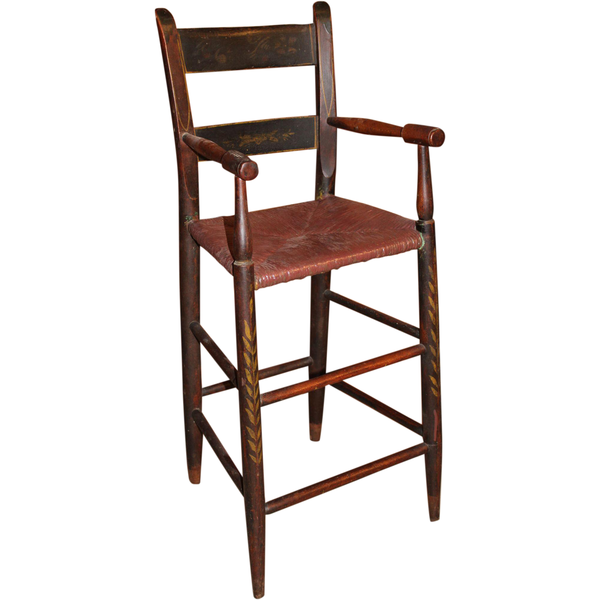 19th c Stenciled Thumb Back High Chair or Child s Chair with Rush
