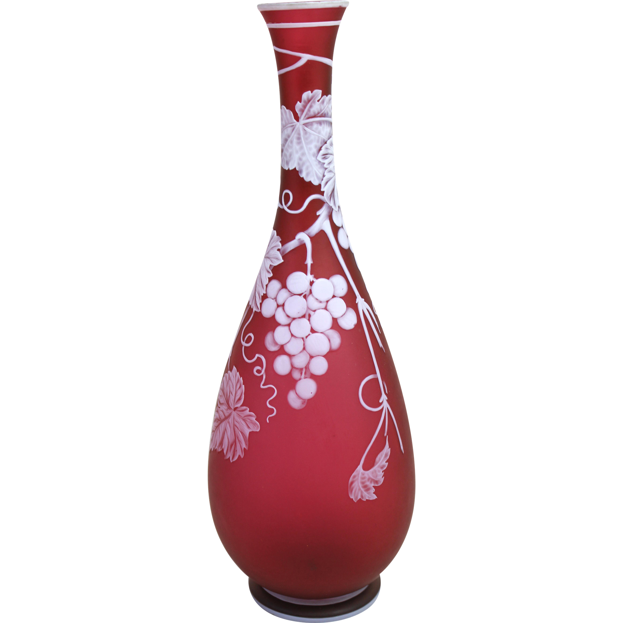 19th c Thomas Webb & Sons English Ruby Red Cameo Vase