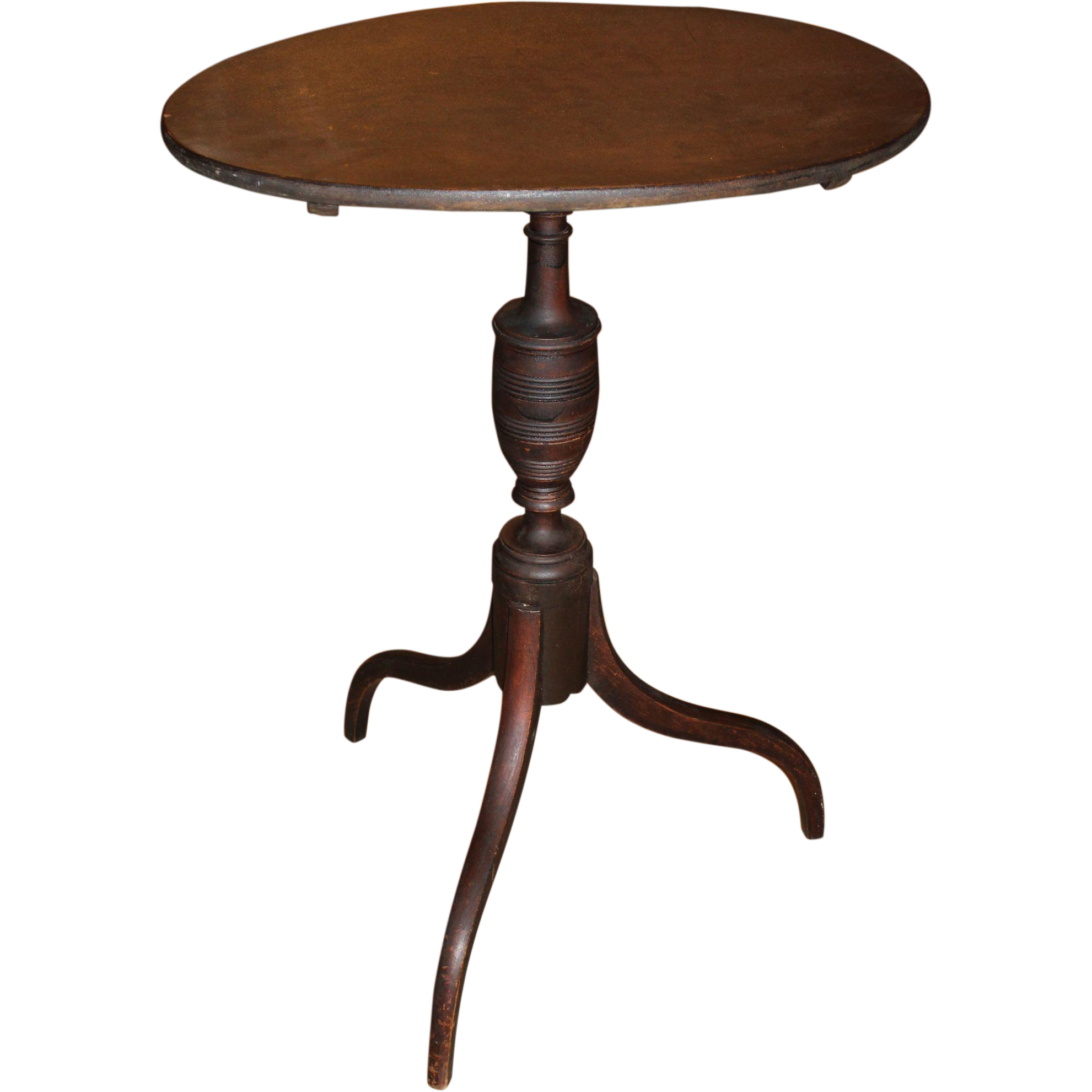 Portsmouth NH Oval Top Candle Stand in Original Surface, circa 1790-1820
