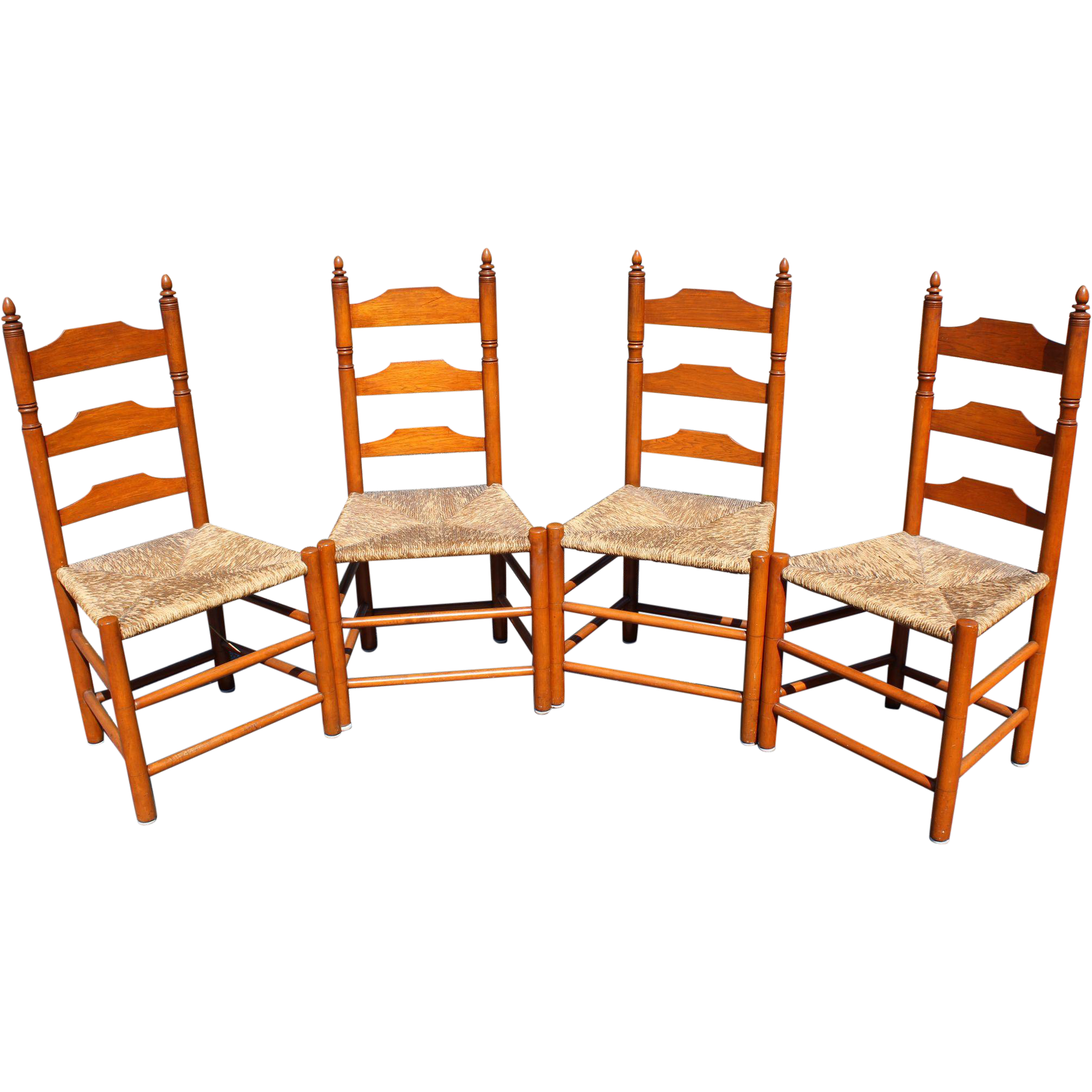Set of Four Signed Wallace Nutting Ladder Back Side Chairs