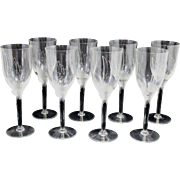 Set of 8 Lalique Crystal Angel Champagne Flutes or Glasses